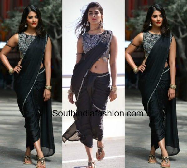 pooja hegde black saree duvvada jagannadham movie 600x541
