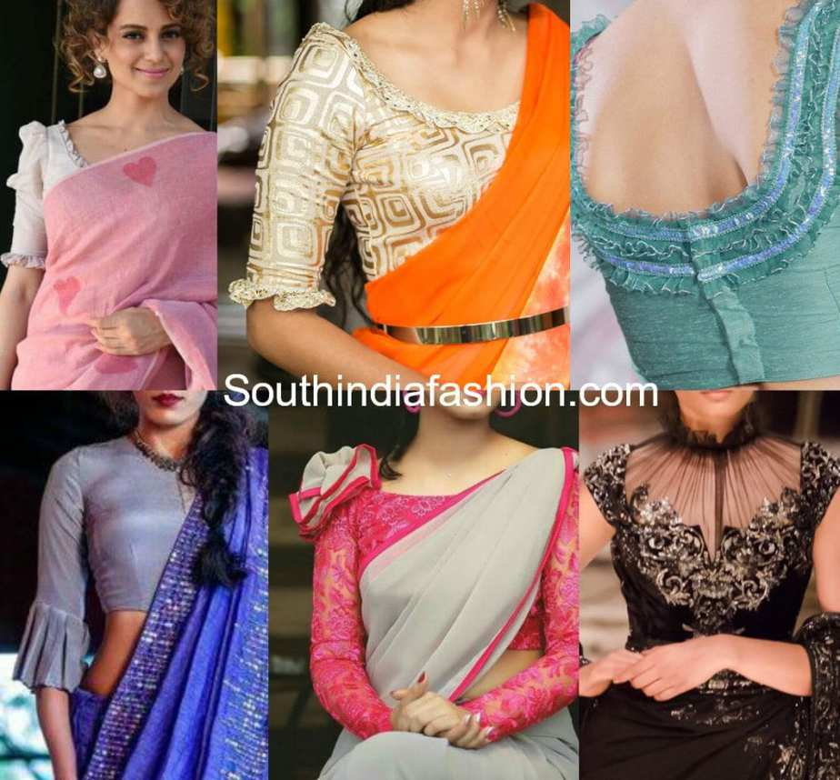 saree blouse designs with frills