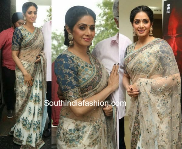 sridevi kapoor sabyasachi saree mom telugu trailer launch 600x492