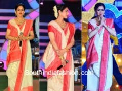 sridevi kapoor in white saree swati and sunaina mom promotions