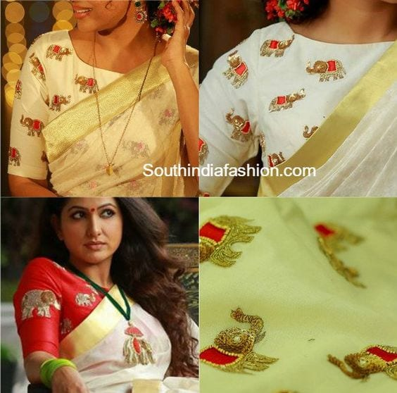 elephant motif embroidered blouse designs for wedding silk bridal sarees