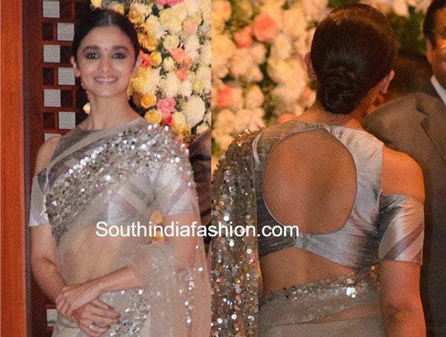 5b4d3d4d45ed68 Hottest Trend  Cold Shoulder Saree Blouse Designs – South India Fashion
