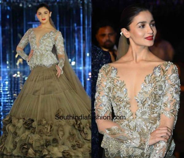 Alia Bhatt for Manish Malhotra at Indian Couture Week