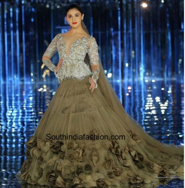 Alia Bhatt in Manish Malhotra at Indian Couture Week