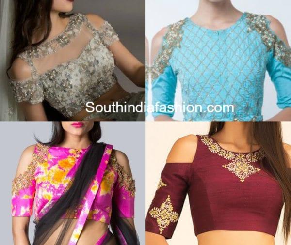 Hottest Trend: Cold Shoulder Saree Blouse Designs –South