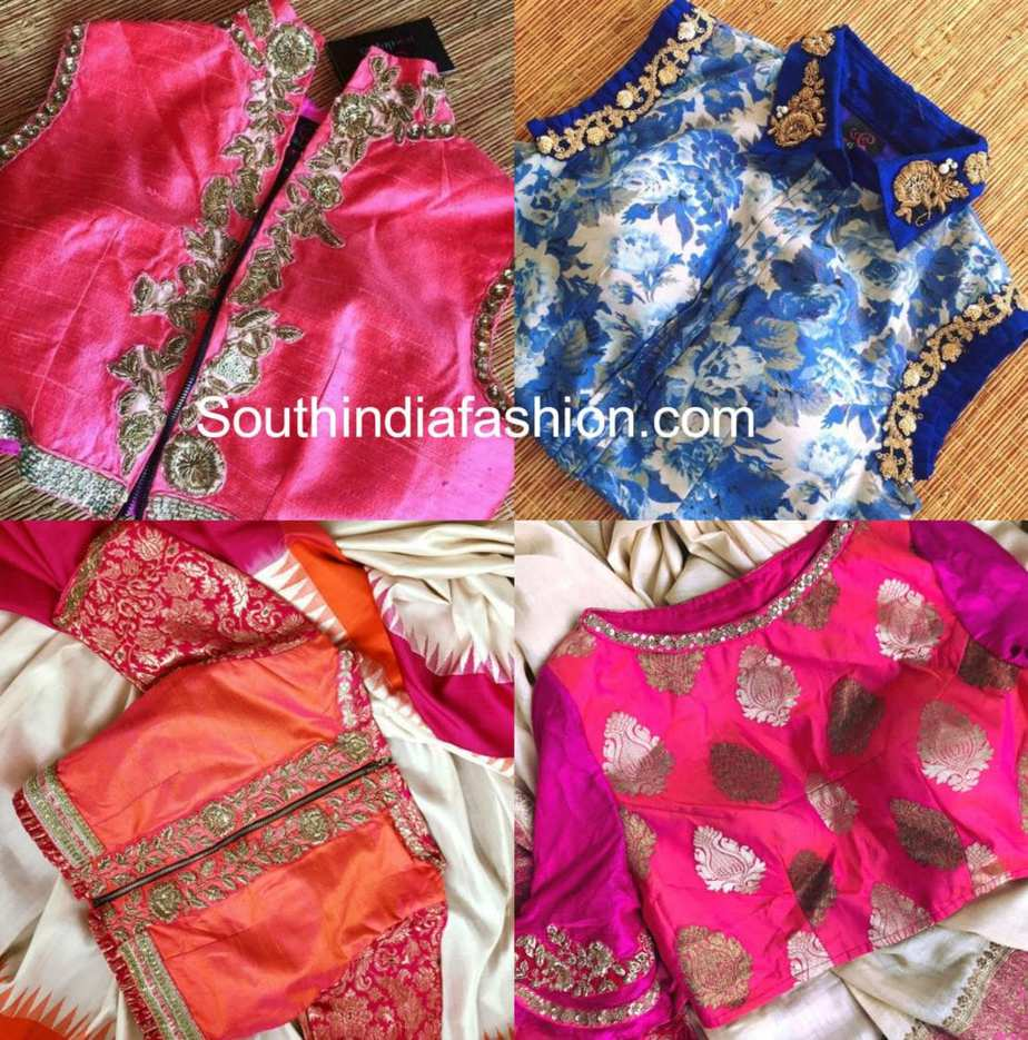 HIGH NECK EMBROIDERED BLOUSE DESIGNS