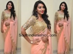 bhanu sri peach saree kirror work blouse