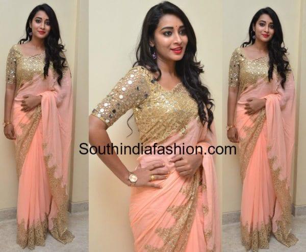 bhanu sri peach saree kirror work blouse