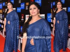 asha sarath blue saree siima awards 2017