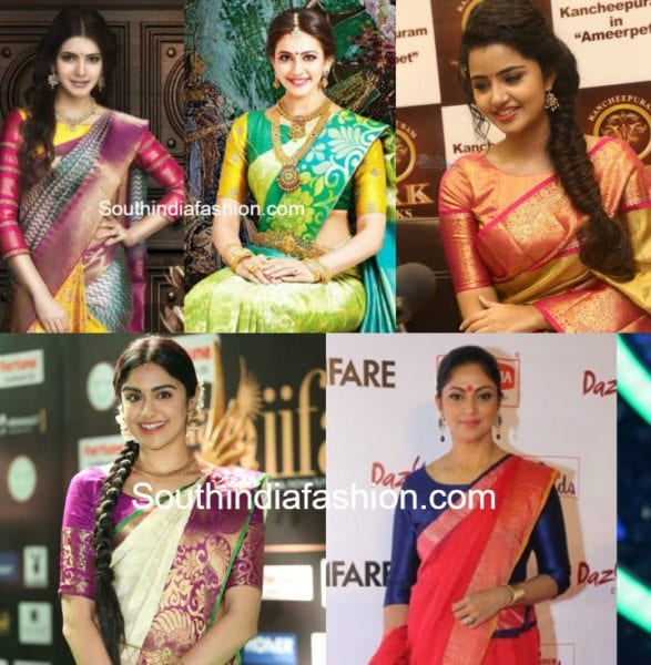 boat neck blouse designs for silk sarees