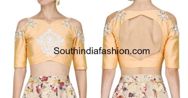 736b0c3e4833b9 9 Latest Cold Shoulder Crop Top Designs – South India Fashion