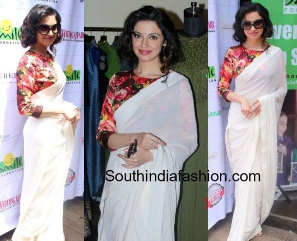 divya-khosla-kumar-white-saree-floral-blouse-varun-bahl