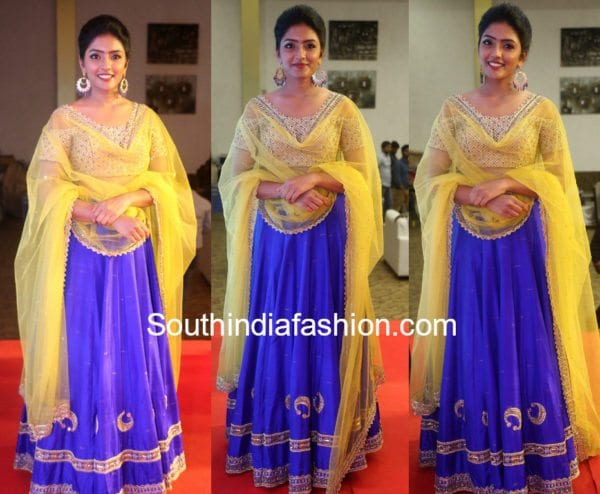 eesha rebba darshakudu audio launch blue lehenga 600x494