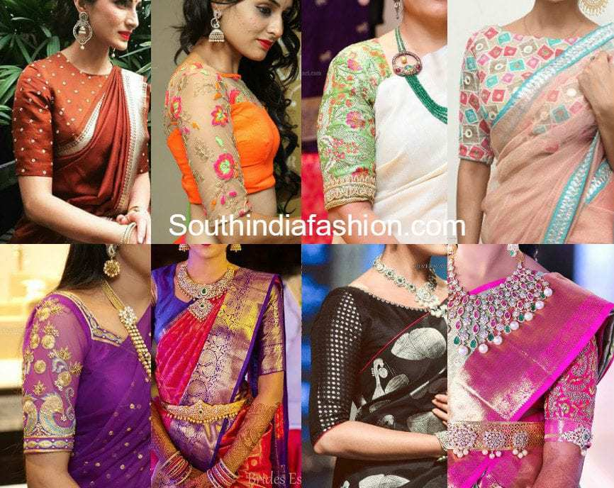 elbow length sleeves saree blouse patterns