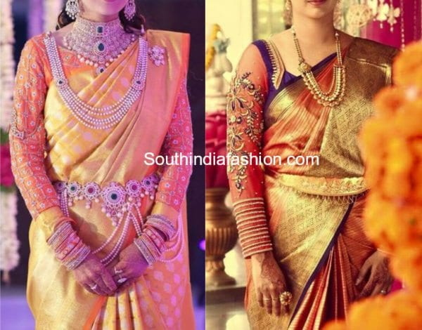 maggam embroidered full sleeves blouse designs for kanjeevaram silk sarees
