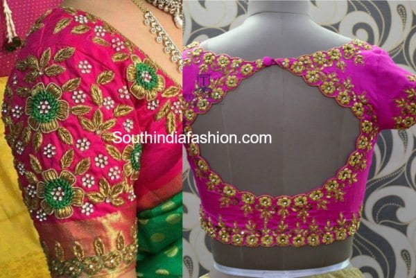 floral zardosi embroidered blouse fro silk sarees