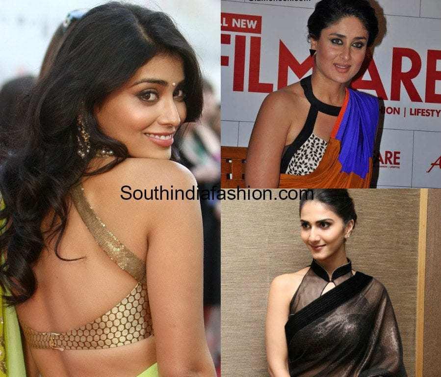 halter neck saree blouse designs