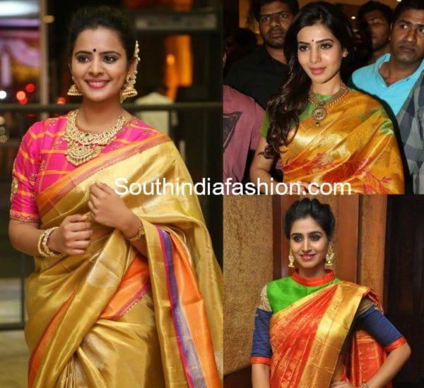 high neck blouse patterns for pattu silk sarees