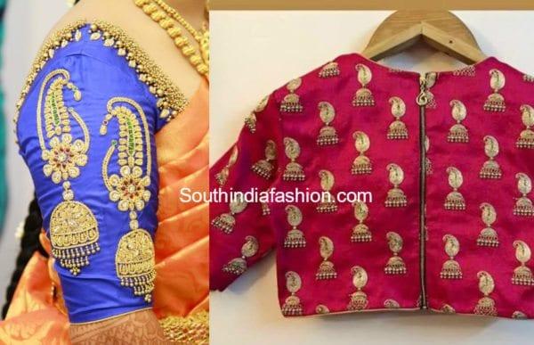 jhumki design blouse fro pattu silk kanjeevaram sarees