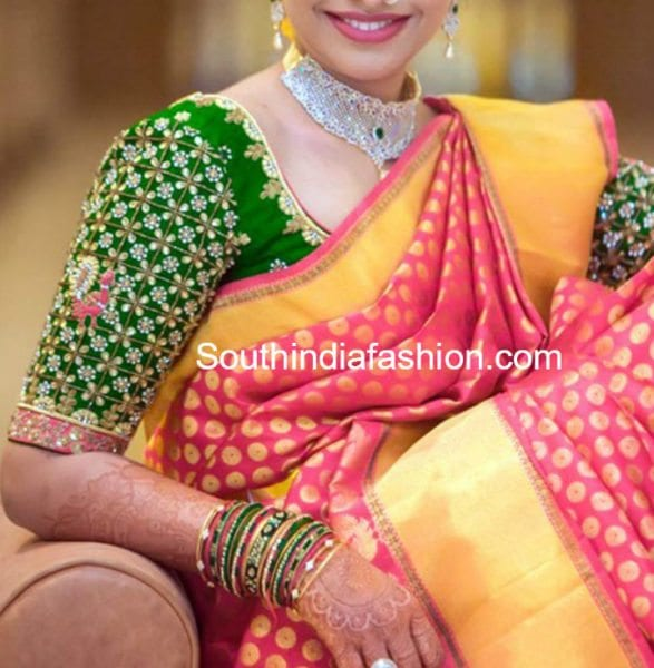 kundan work blouse designs for pattu silk sarees