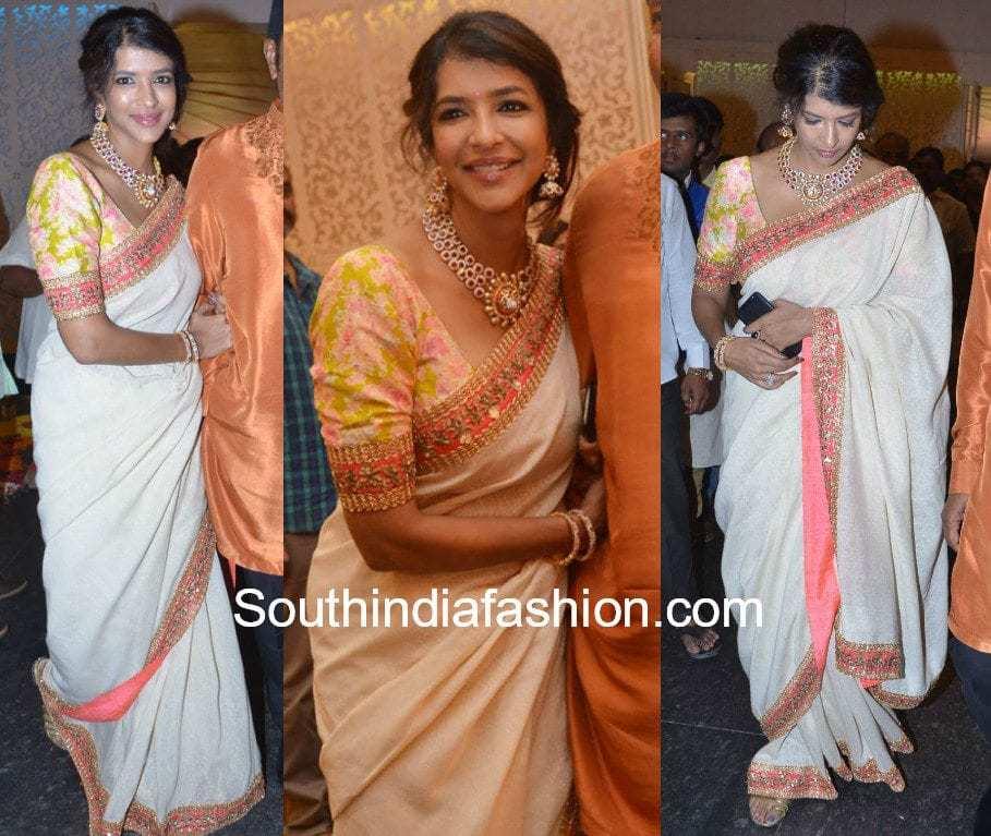 lakshmi manchu white saree shyam prasad daughter wedding