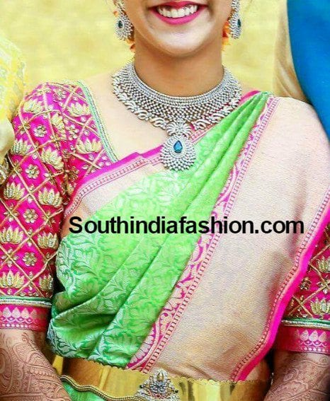 lotus design maggam work blouse for pattu silk sarees