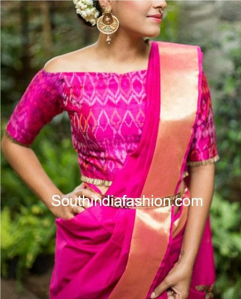 off shoulder blouse design for pattu silk sarees