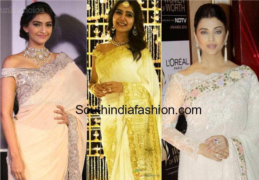 off shoulder saree blouse designs