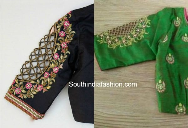 pattu saree blouse designs with cut work sleeves
