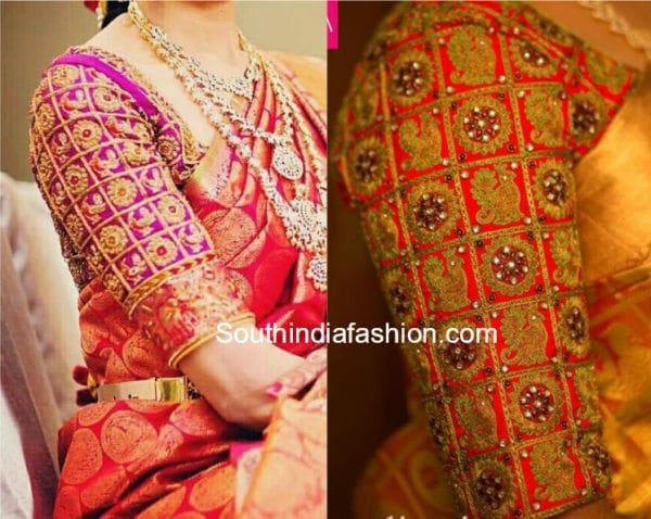 peacock embroidered blouse designs fro silk sarees
