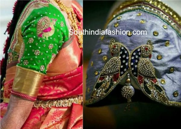 peacock embroidered blouse designs for silk sarees