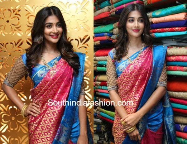 pooja hegde cut work blouse silk saree 600x462