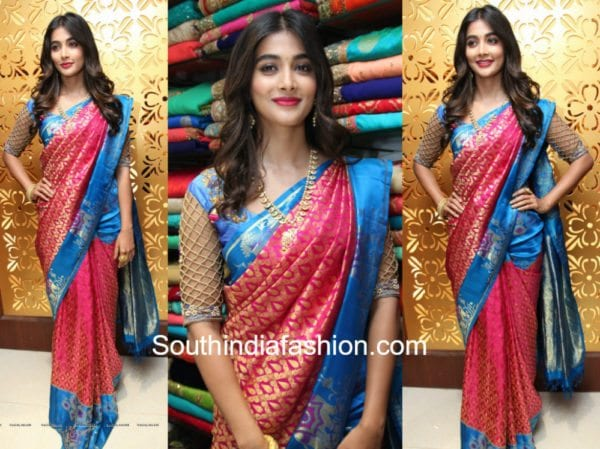 pooja hegde pattu saree anutex shopping mall opening 600x449