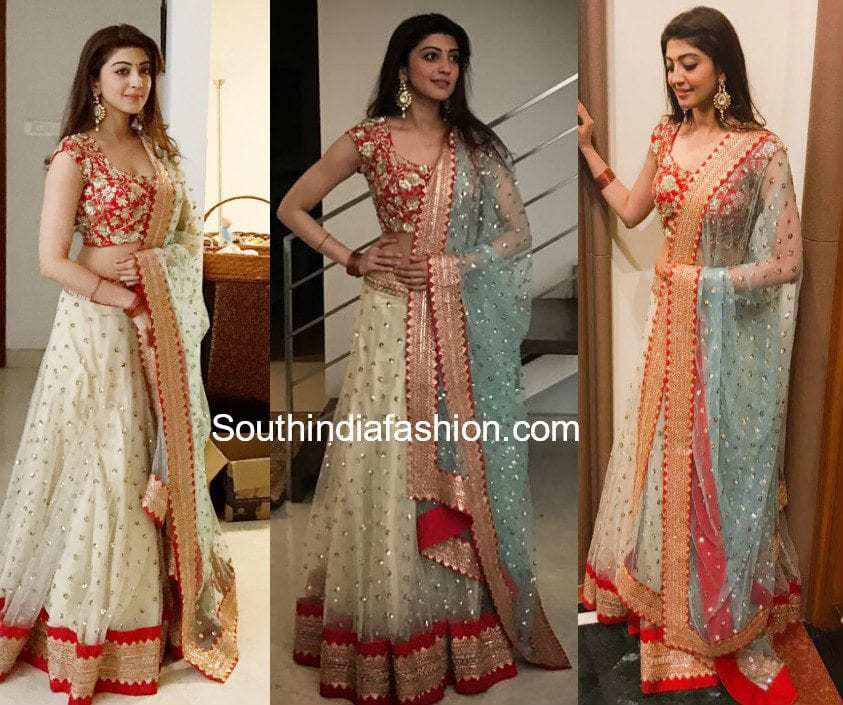 pranitha subhash half saree