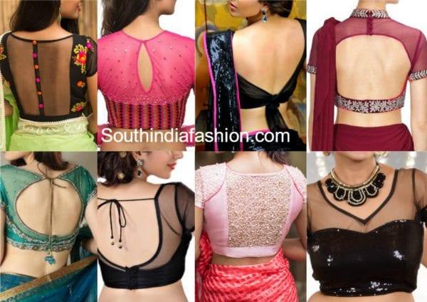 sheer transparent net blouse designs