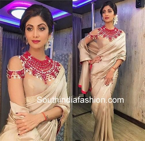 2390e43249cdd Hottest Trend  Cold Shoulder Saree Blouse Designs – South India Fashion