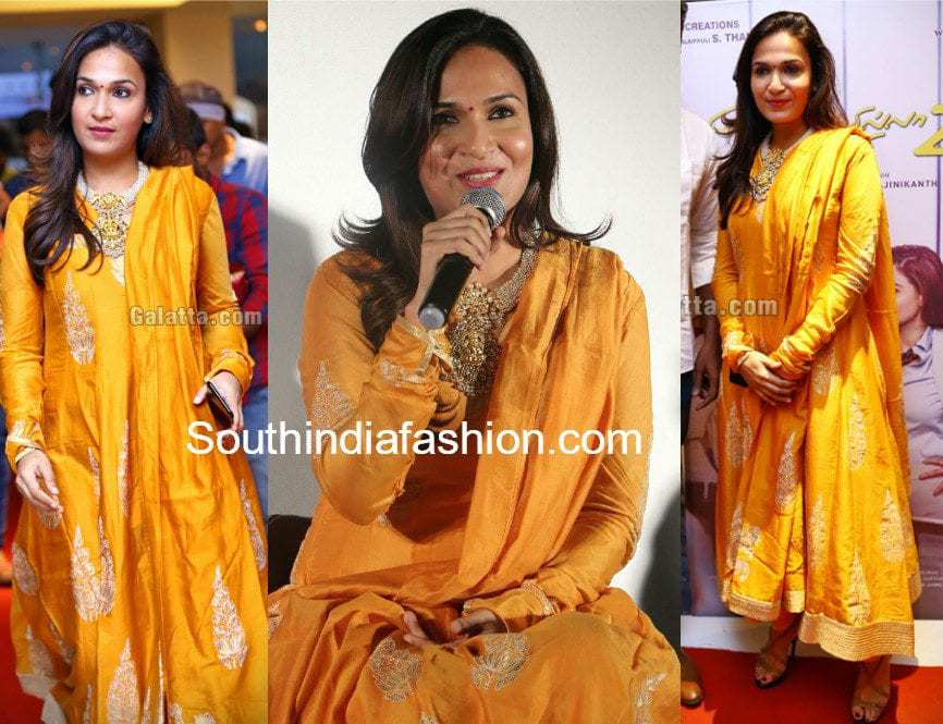 Soundarya Rajinikanth Yellow Anarkali Vip 2 Press Meet