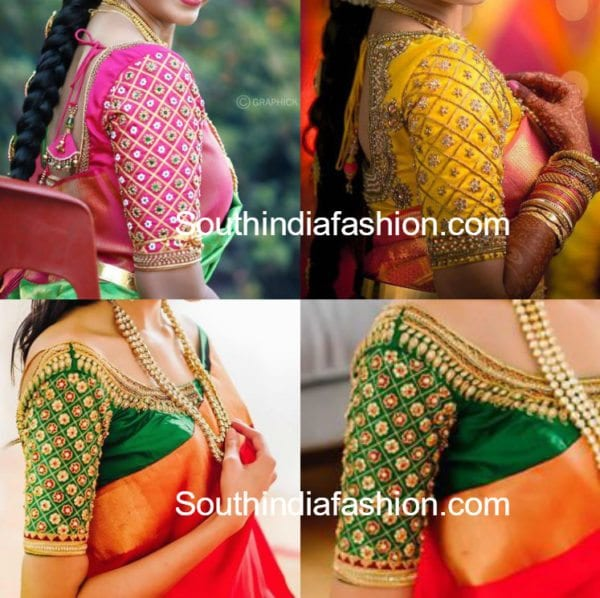 pattu saree blouse dsesigns with elbow length sleeves with stone work