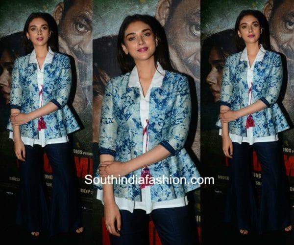 Aditi Rao Hydari in Sartorial by Swati Goradia at the trailer launch of Bhoomi