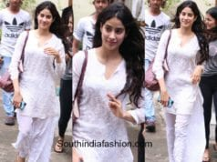 Jhanvi Kapoor in a white chikankari palazzo kurta after dance practice in Mumbai