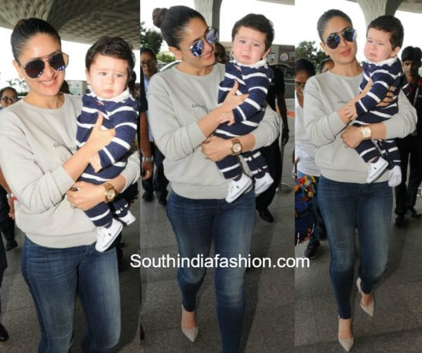 Kareena Kapoor with Baby Taimur at the airport
