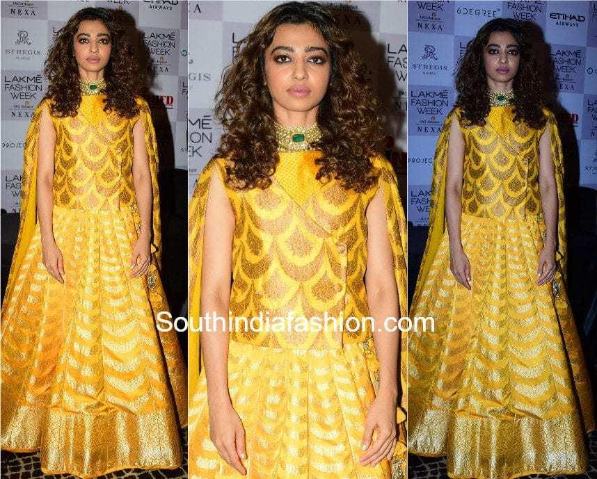 Radhika Apte in Sailesh Singhania yellow lehenga at lakme fashion week 2017