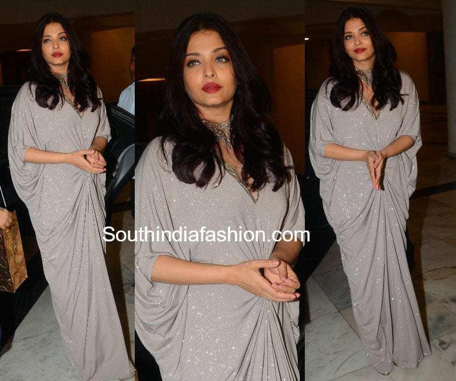 aishwarya rai bachchan silver gown at sridevi kapoor birthday bash