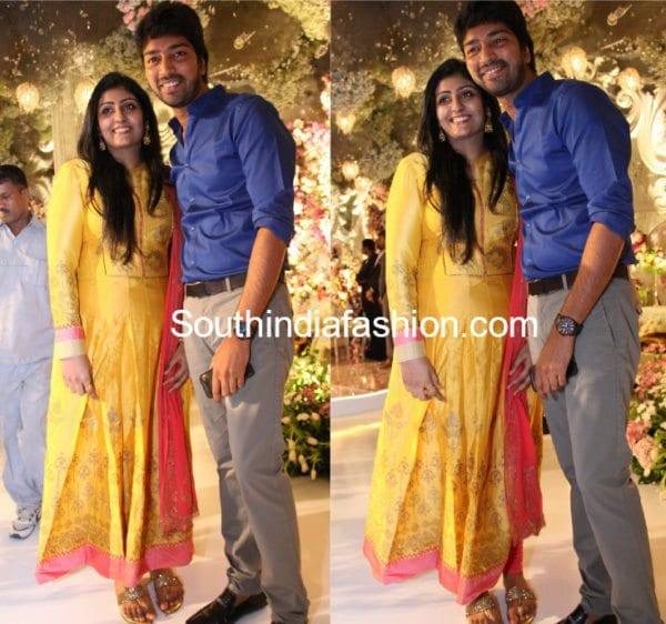 Allari Naresh with wife Virupa at Rachana Choudhary's Engagement