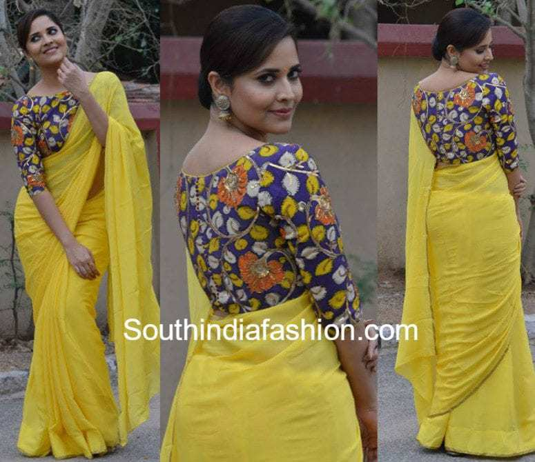 ANASUYA YELLOW PLAIN SAREE WITH KALAMKARI BLOUSE