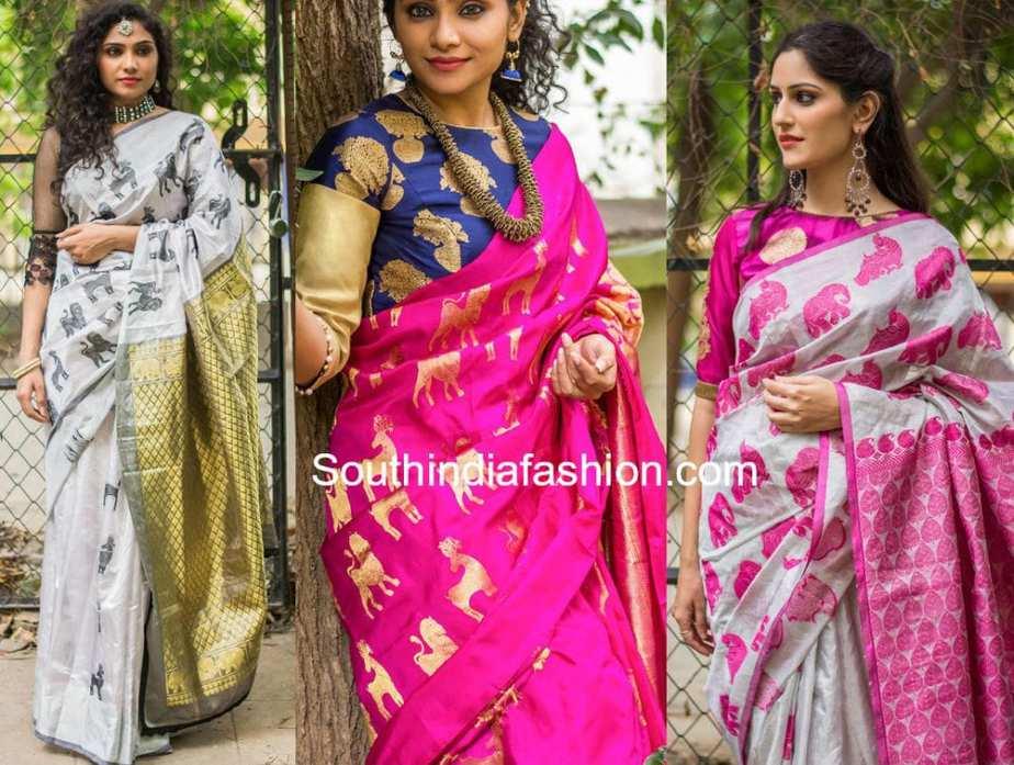 Trending Hot Animal Motif Kanjeevaram Silk Sarees South