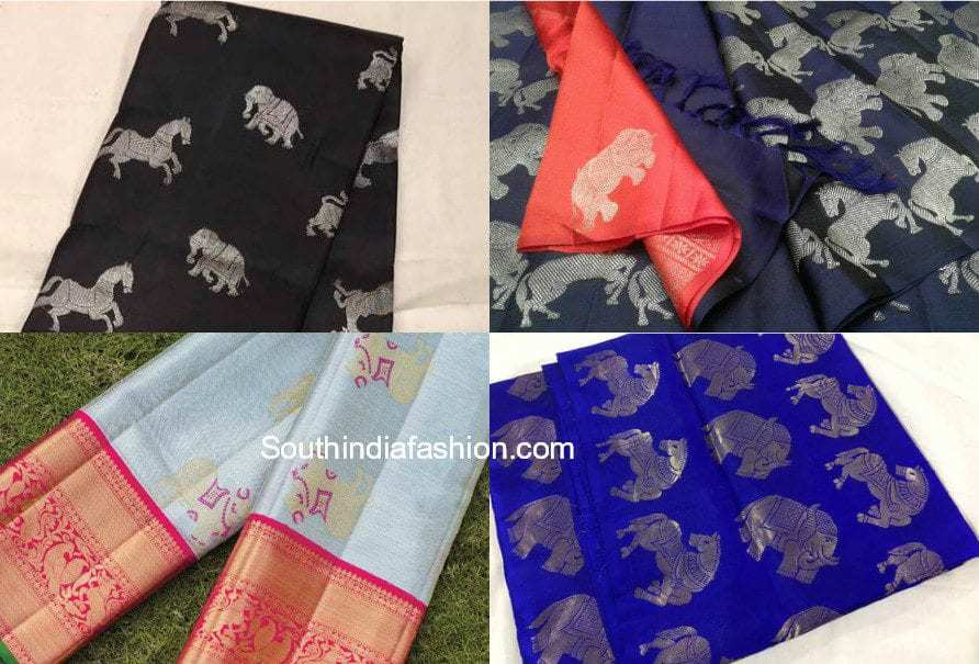 animal design kanjeevaram sarees