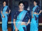 anu immanuel in Preetham Jukalker blue ikat saree at woven 2017 fashion show