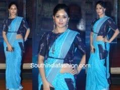 anu immanuel in Preetham Jukalker blue ikat saree at woven 2017 fashion show