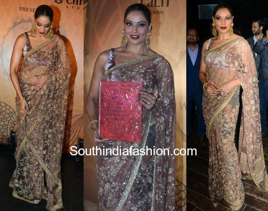 bipasha basu in sabyasachi saree at the great indian wedding book launch event